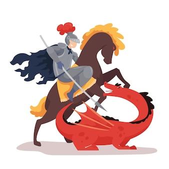 Ilustração plana diada de sant jordi com o cavaleiro no cavalo lutando contra o dragão
