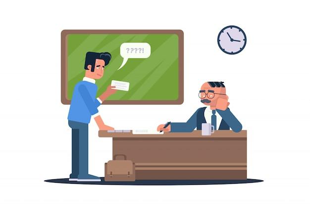 Ilustração plana do aluno passando no exame