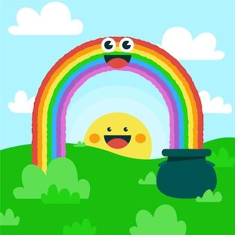 Ilustração plana do arco-íris sorridente