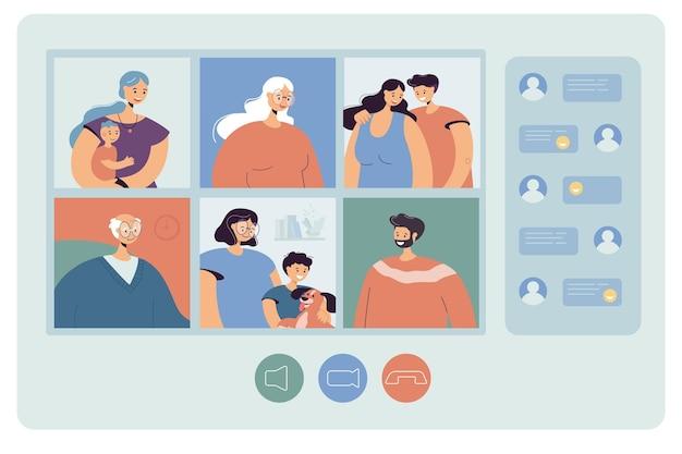 Ilustração plana do bate-papo familiar na web