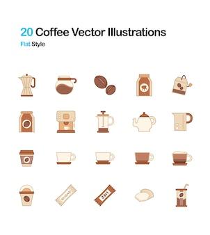 Ilustração plana do café