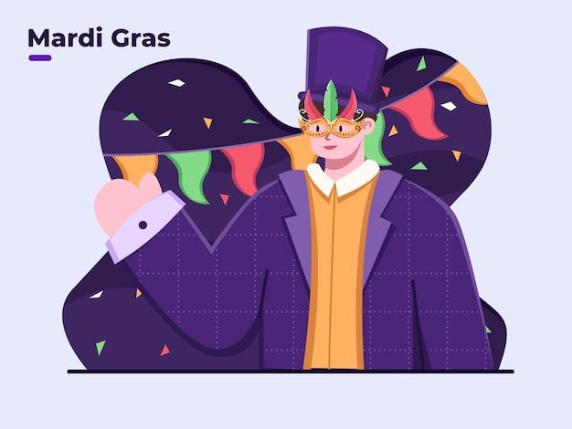 Ilustração plana do carnaval de feliz mardi gras
