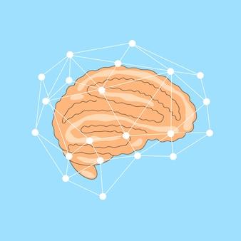 Ilustração plana do cérebro com uma rede de linhas ao seu redor. conceito cerebral, ícone de órgão humano