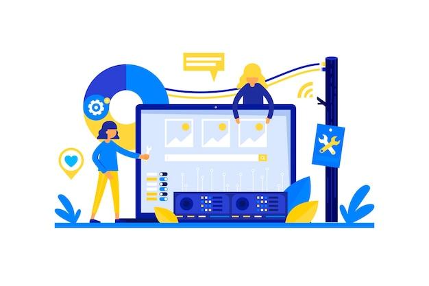 Ilustração plana do conceito de desenvolvimento web