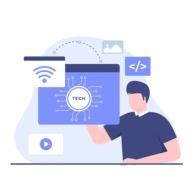 Ilustração plana do conceito de design de negócios e tecnologia. ilustração para sites, páginas de destino, aplicativos móveis, pôsteres e banners