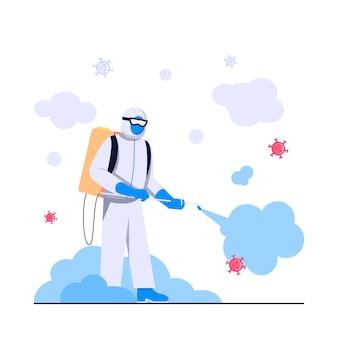 Ilustração plana do conceito de desinfecção por vírus