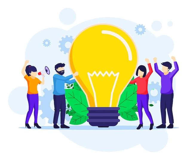 Ilustração plana do conceito de ideia de negócio