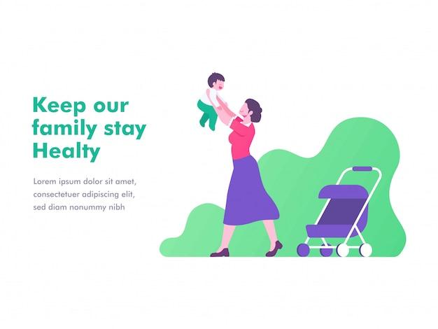 Ilustração plana do conceito de mãe e bebê