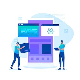 Ilustração plana do conceito de programador nativo react. ilustração para sites, páginas de destino, aplicativos móveis, cartazes e banners.