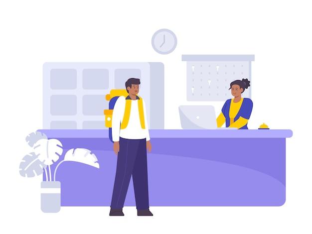 Ilustração plana do conceito de reserva e registro de hotel