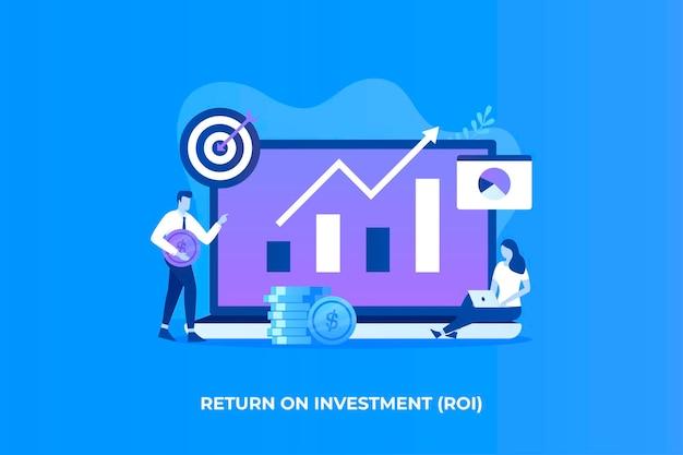 Ilustração plana do conceito de retorno do investimento para páginas de destino de sites