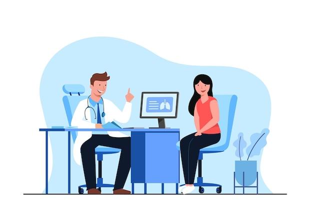 Ilustração plana do conceito de serviço hospitalar.