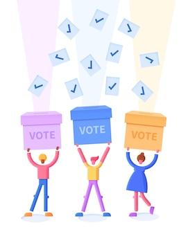 Ilustração plana do conceito de votação com urnas e eleitores felizes
