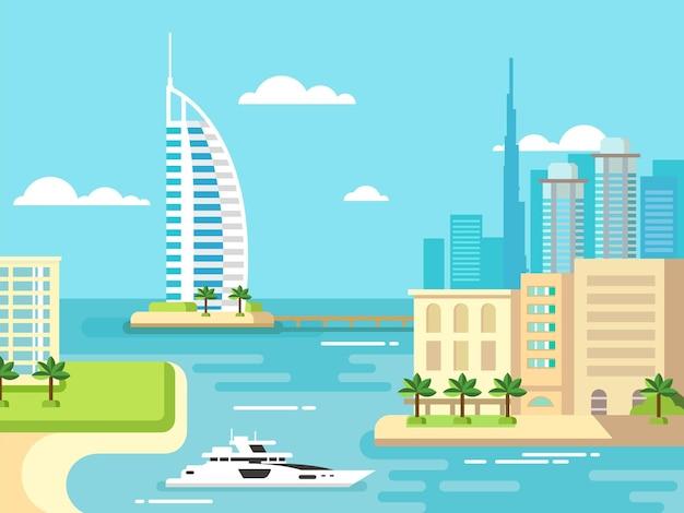 Ilustração plana do conceito do horizonte da praia da cidade de dubai