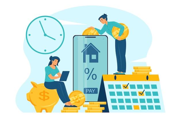 Ilustração plana do conceito online de pagamento de hipoteca