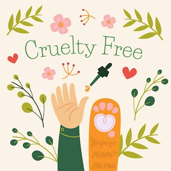 Ilustração plana do conceito vegan e livre de crueldade