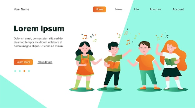 Ilustração plana do coro de crianças dos desenhos animados.
