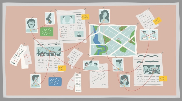 Ilustração plana do crime research board