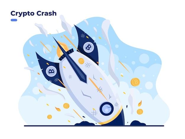 Ilustração plana do crypto crash