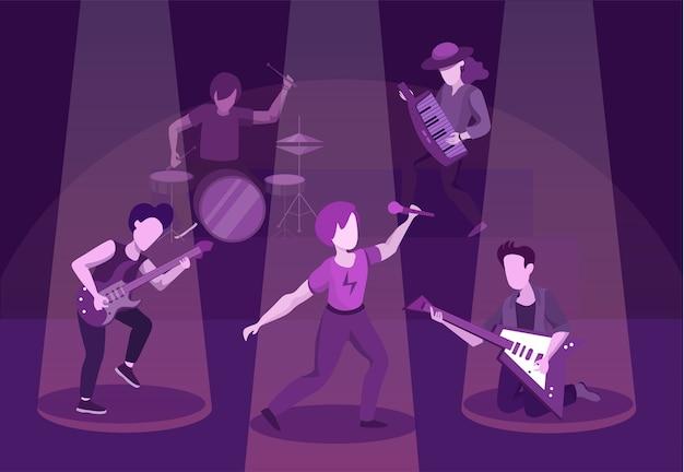 Ilustração plana do desempenho de banda de rock