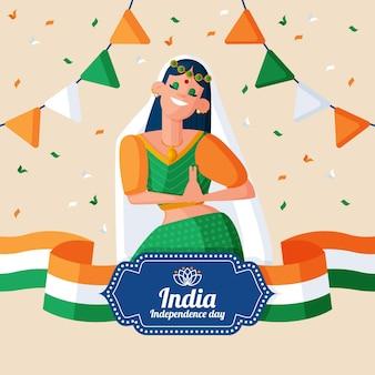 Ilustração plana do dia da independência indiana