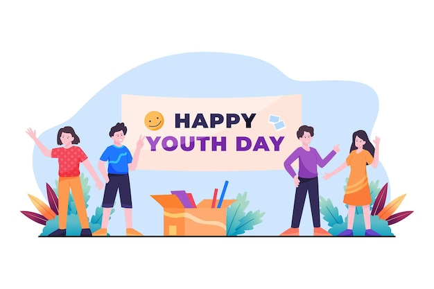Ilustração plana do dia da juventude, celebrada por pessoas diferentes