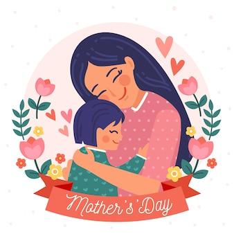 Ilustração plana do dia das mães