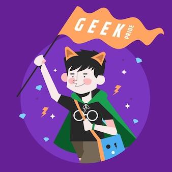Ilustração plana do dia do orgulho geek