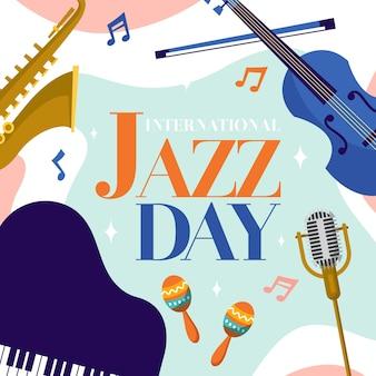 Ilustração plana do dia internacional do jazz