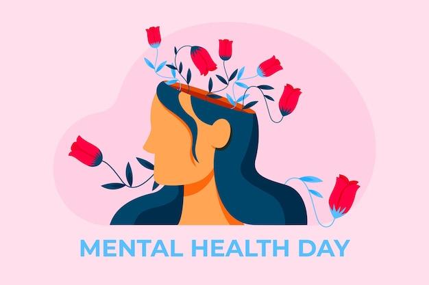 Ilustração plana do dia mundial da saúde mental