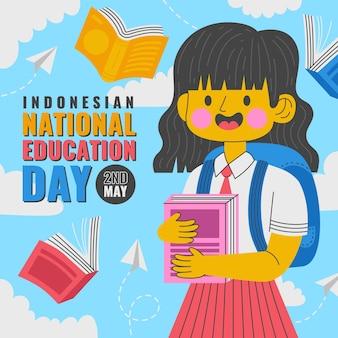 Ilustração plana do dia nacional da educação da indonésia
