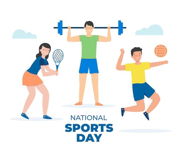 Ilustração plana do dia nacional de esportes