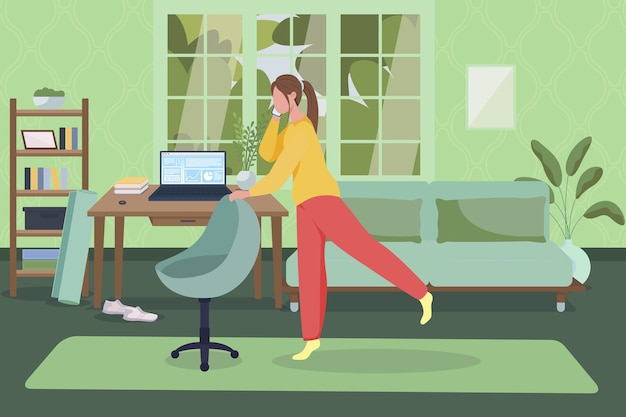 Ilustração plana do escritório em casa. cadeira de ioga.