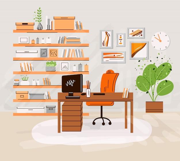 Ilustração plana do escritório em casa local de trabalho interrior - mesa de trabalho com monitor, computador, prateleiras com livros e acessórios, plantas. área de trabalho em casa acolhedora, zona de escritório em casa
