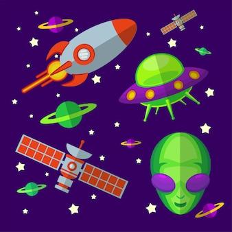Ilustração plana do espaço