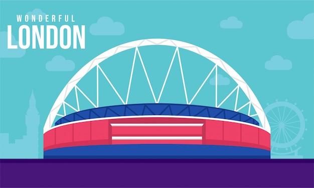Ilustração plana do estádio de wembley