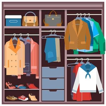 Ilustração plana do guarda-roupa com roupas e acessórios