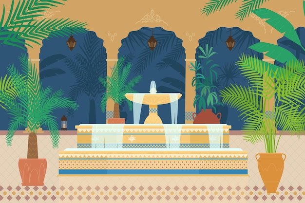 Ilustração plana do jardim do palácio árabe com fonte, plantas tropicais, arcos, lanternas.