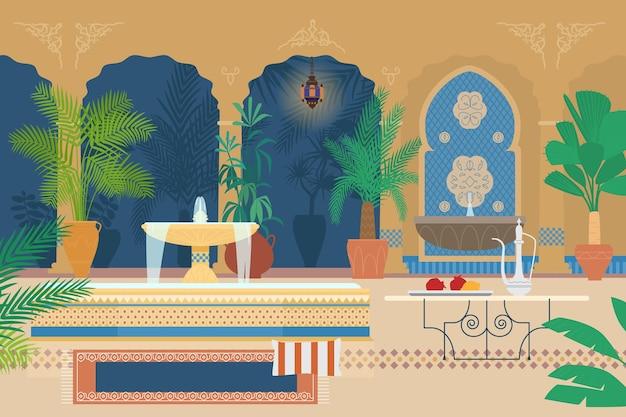 Ilustração plana do jardim do palácio árabe com fontes, plantas tropicais, arcos, lanternas, mesa com bule de chá de prata, tapete.