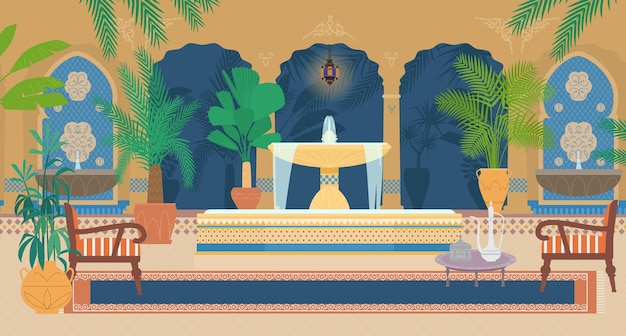 Ilustração plana do jardim do palácio árabe com fontes, plantas tropicais, arcos, lanternas, poltronas, mesa com bule de chá de prata, tapete.