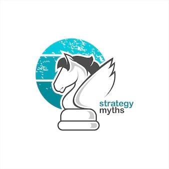 Ilustração plana do logotipo da pegasus do xadrez de cavaleiro
