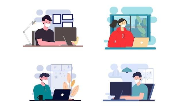 Ilustração plana do personagem trabalhando no computador em casa para prevenção do vírus corona