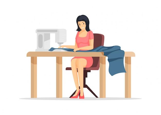 Ilustração plana do processo de costura. jovem operário de costura, personagem de desenho animado de empregado de loja de alfaiate. elemento de design