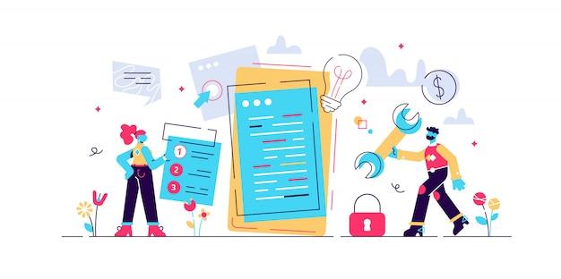 Ilustração plana do processo de desenvolvimento de aplicativos móveis. prototipagem da api de software e experiência em testes. processo de criação de interface para smartphone, criação de aplicativo móvel