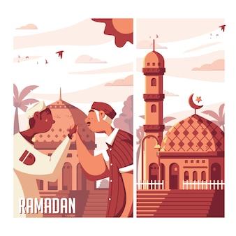 Ilustração plana do ramadã 1440h