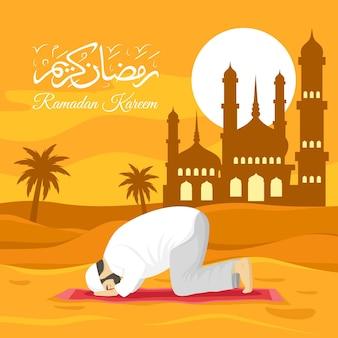 Ilustração plana do ramadã com pessoa orando