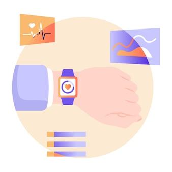 Ilustração plana do rastreador de fitness de smartwatch