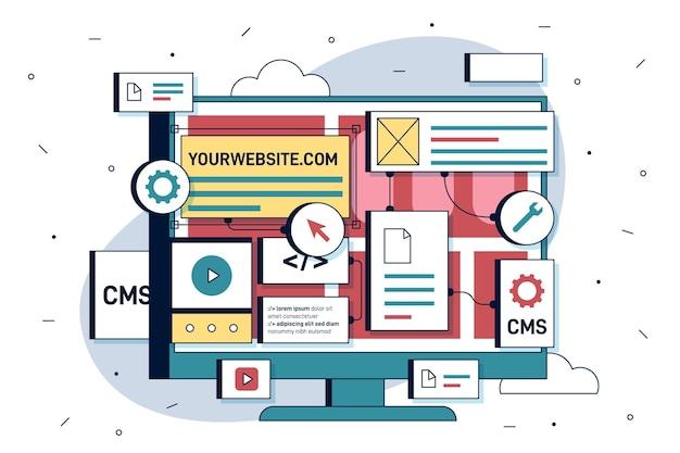 Ilustração plana do sistema de gerenciamento de conteúdo