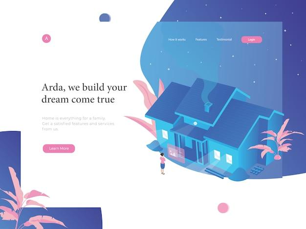 Ilustração plana do site imobiliário