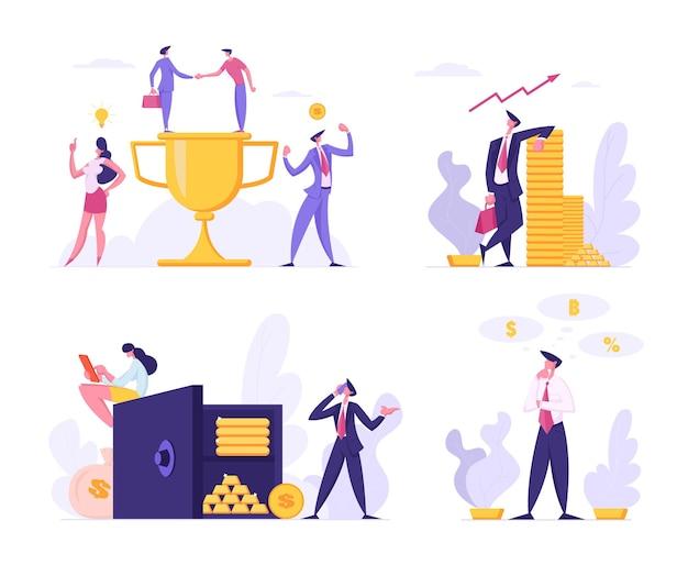 Ilustração plana do sucesso do trabalho em equipe financeiro da empresa